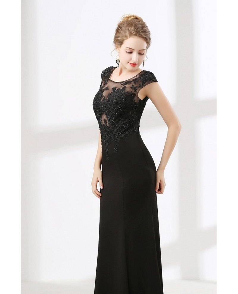 Floor Length Petite Black Formal Dress With Beading Lace Top #CH6622 ...