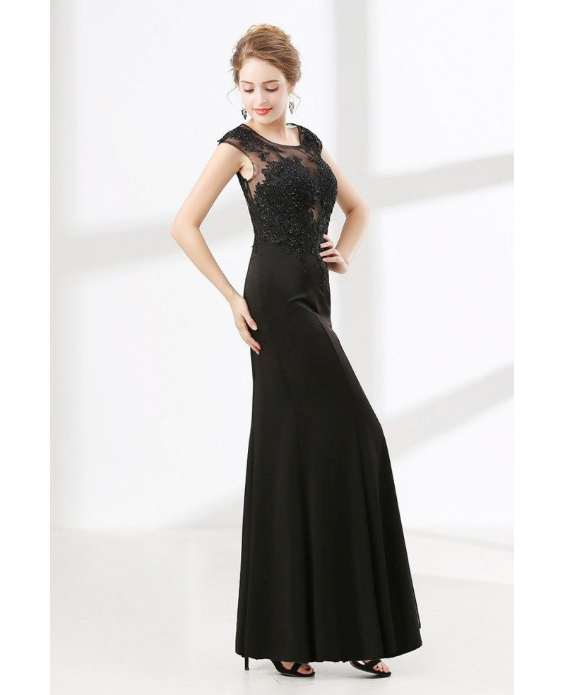 Floor length petite black formal dress with beading lace for Petite evening dresses for weddings