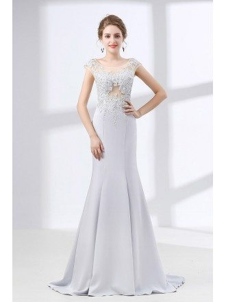 2018 Silver Trumpet Fit Formal Dress With Lace Beading Bodice