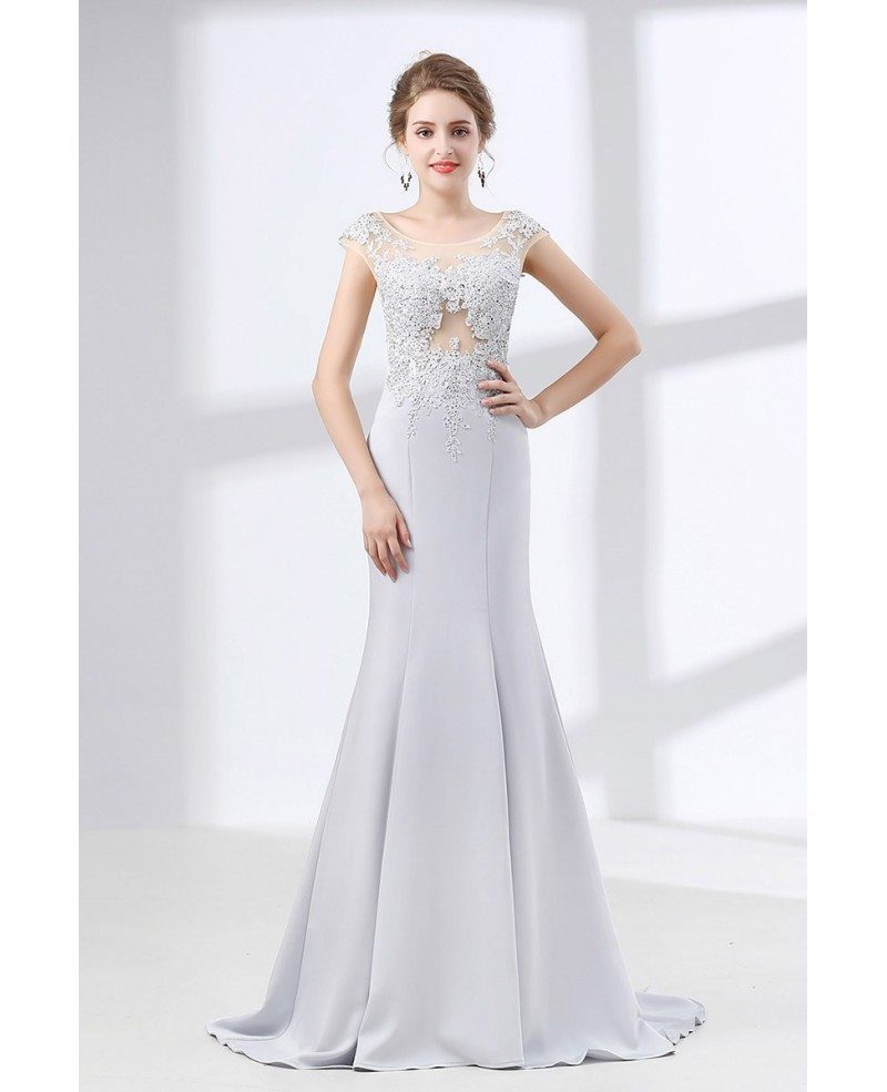 2018 Silver Trumpet Fit Formal Dress With Lace Beading Bodice ...