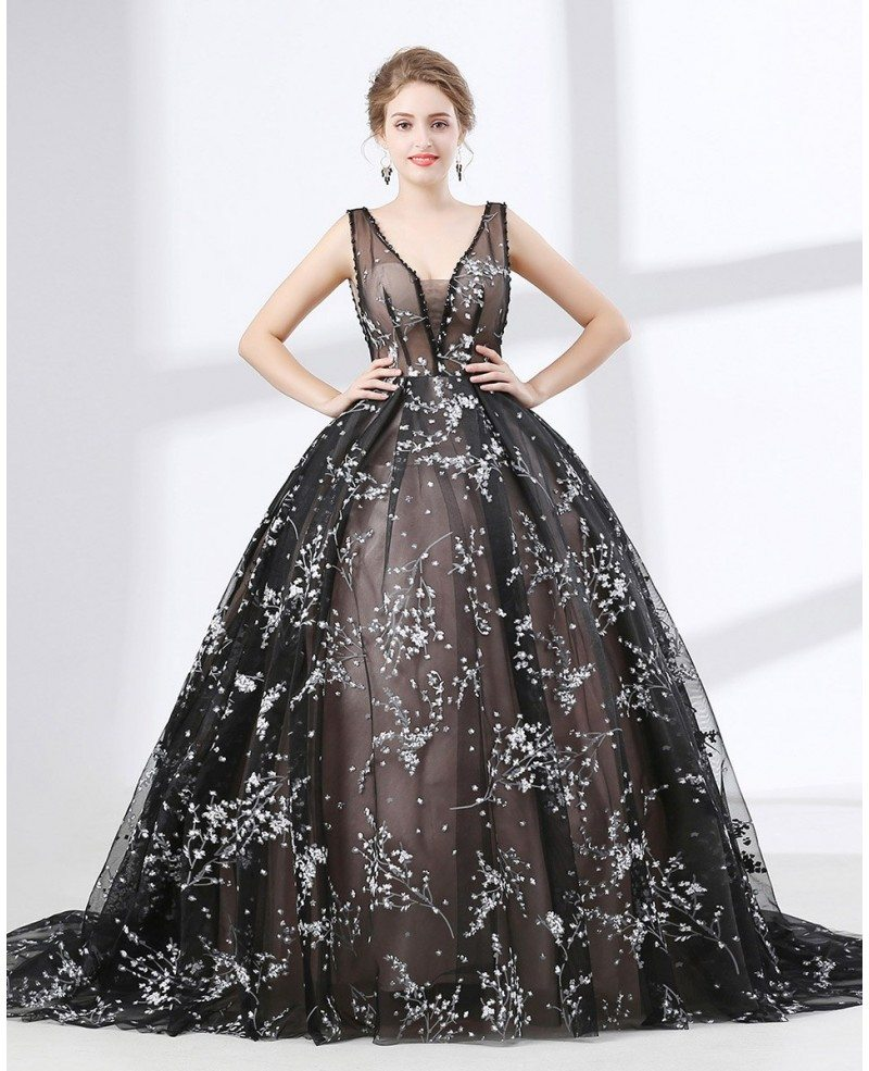 Romantic Lace Ball Gown Prom Dress Black In Country Style #CH6624 ...
