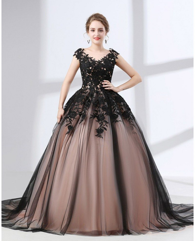 Country Ball Gown Black Quinceanera Dress Long Train With