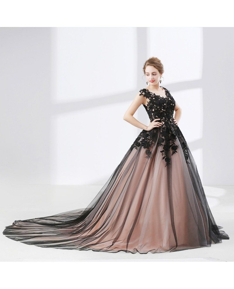 Country Ball Gown Black Quinceanera Dress Long Train With Lace ...