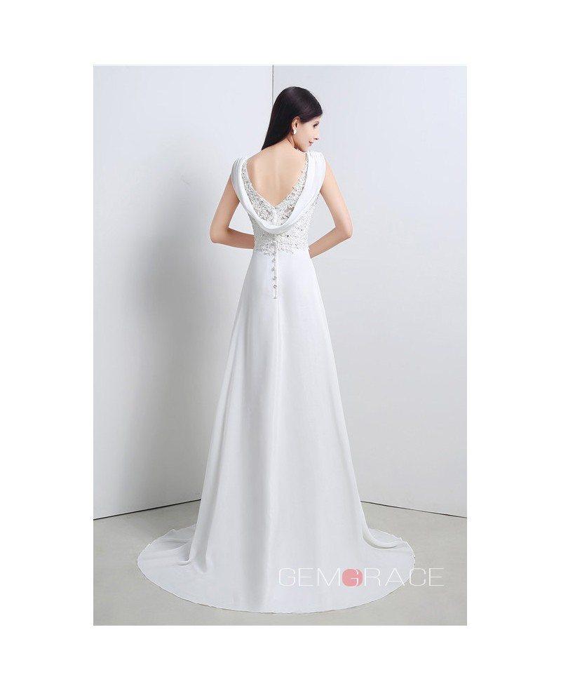 Sheath v neck cap sleeves sweep train wedding dress for Sheath wedding dress with cap sleeves