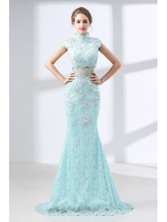 Modest Mermaid Lace Aqua Prom Dress Long In 2 Piece Style