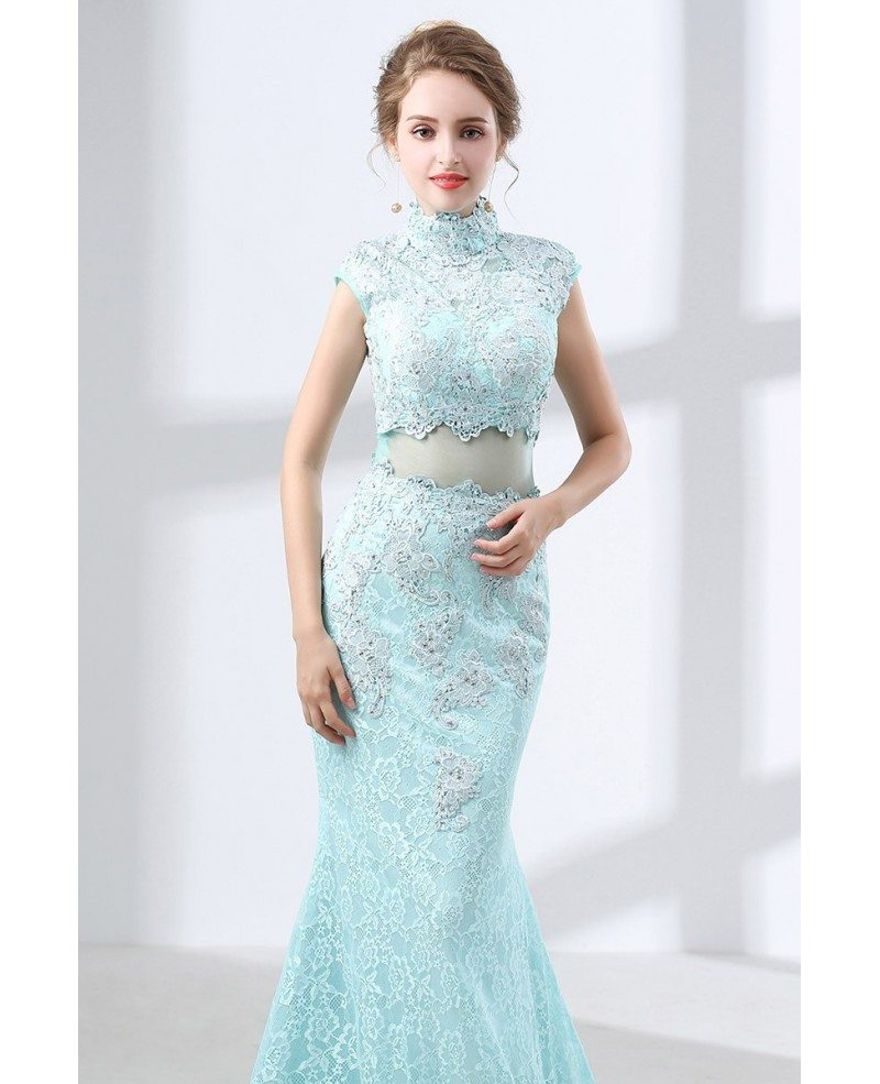 Modest Mermaid Lace Aqua Prom Dress Long In 2 Piece Style #CH6633 ...