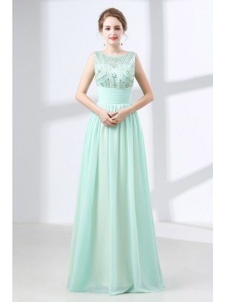 Flowing Chiffon Long Teal Prom Dress With Modest Beading Top