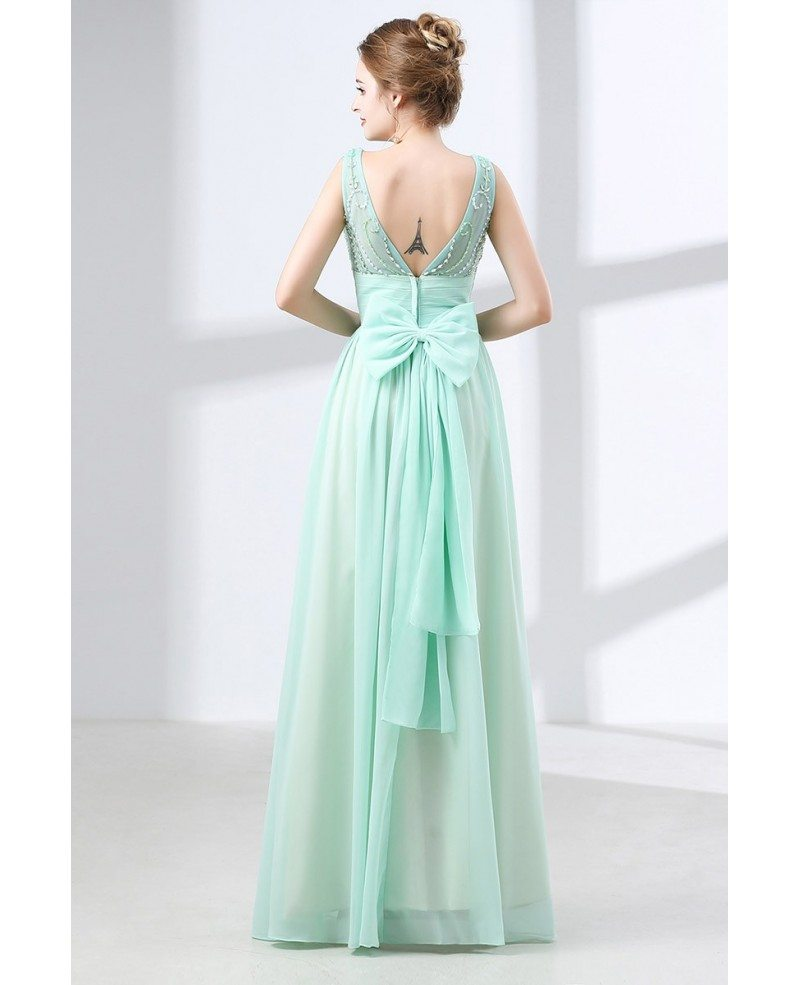 Flowing Chiffon Long Teal Prom Dress With Modest Beading Top #CH6635 ...