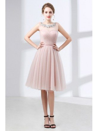 Cute Pink Knee Length Homecoming Dress Tulle With Lace Neck