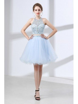 Vintage Two Piece Halter Homecoming Dress Short With Crystals