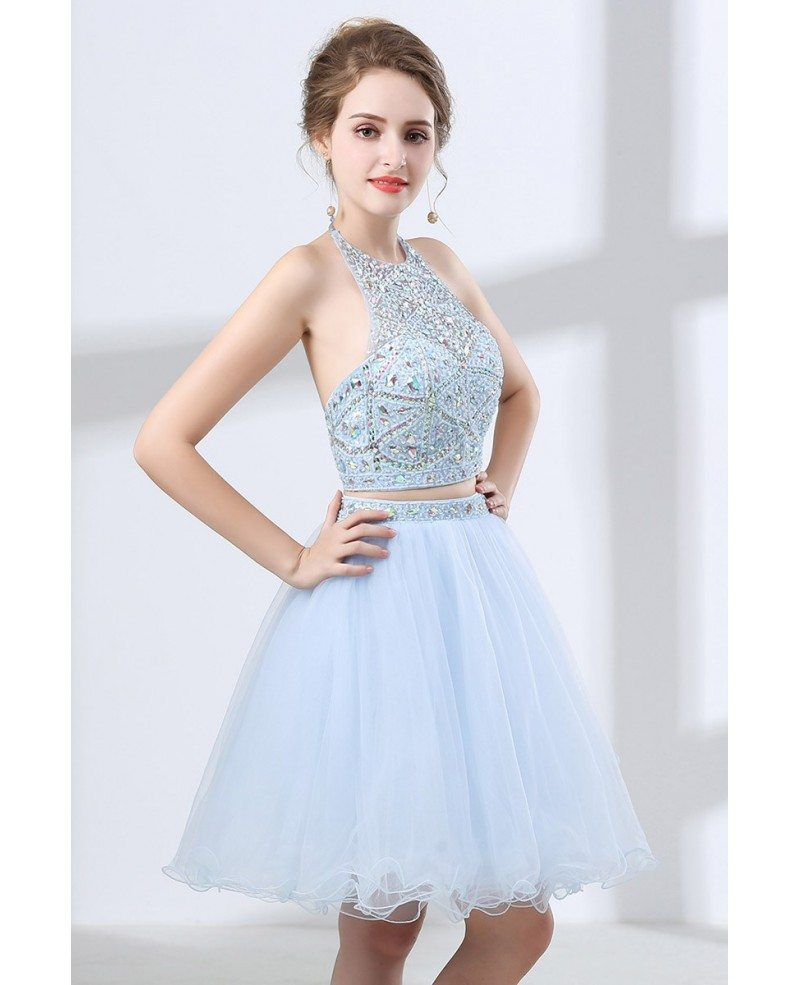 Vintage Two Piece Halter Homecoming Dress Short With