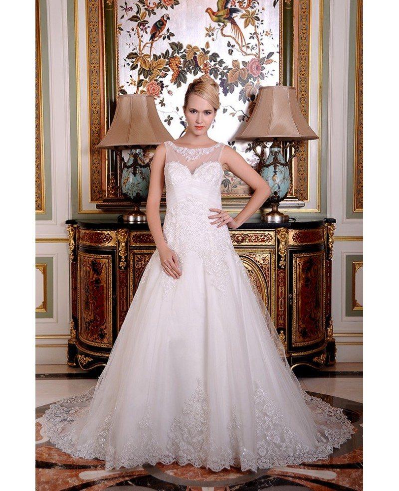 A line scoop neck chapel train organza wedding dress with for Wedding dresses chapel train