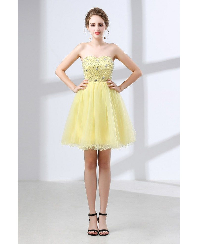 Cheap Cocktail Yellow Prom Dress Beaded For Homecoming Girls #CH6640 ...