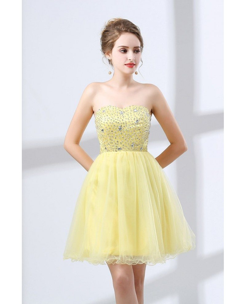 Discount Designer Dresses Cocktail: Cheap Cocktail Yellow Prom Dress Beaded For Homecoming