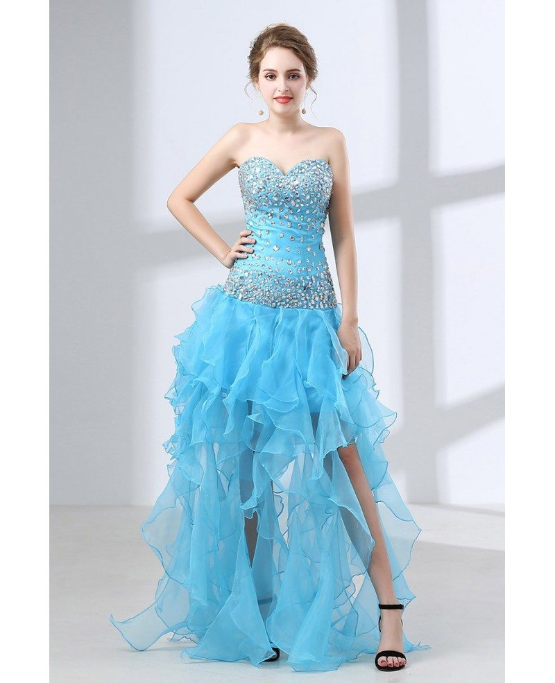 Different Long Slit Pool Prom Dress With Beading Top 2018 #CH6641 ...