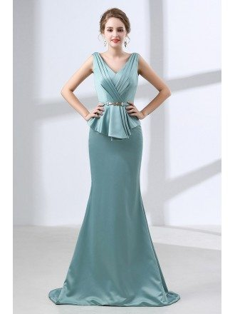 Fitted Trumpet Satin Formal Dress Backless For Mature Woman