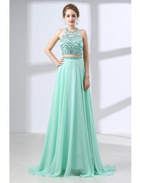 Two Piece Long Teal Prom Dress Sparkly With Crystal Halter Top ...