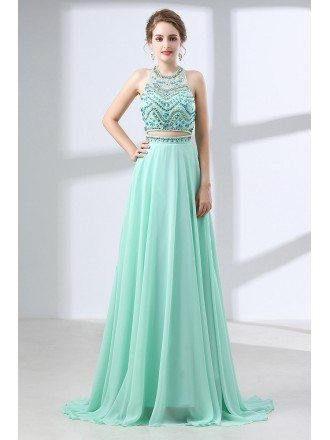 Two Piece Long Teal Prom Dress Sparkly With Crystal Halter Top