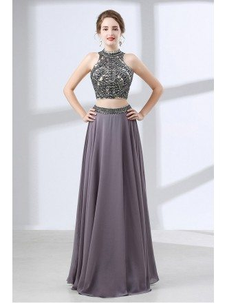 Two Piece Vintage Grey Formal Dress Long With Crystal Halter Top