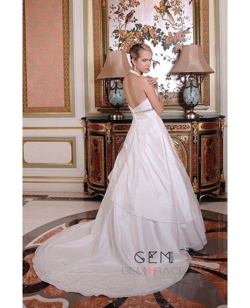 Ruffle Ball Gown Wedding Dress: Ball-Gown Halter Chapel Train Satin Wedding Dress With