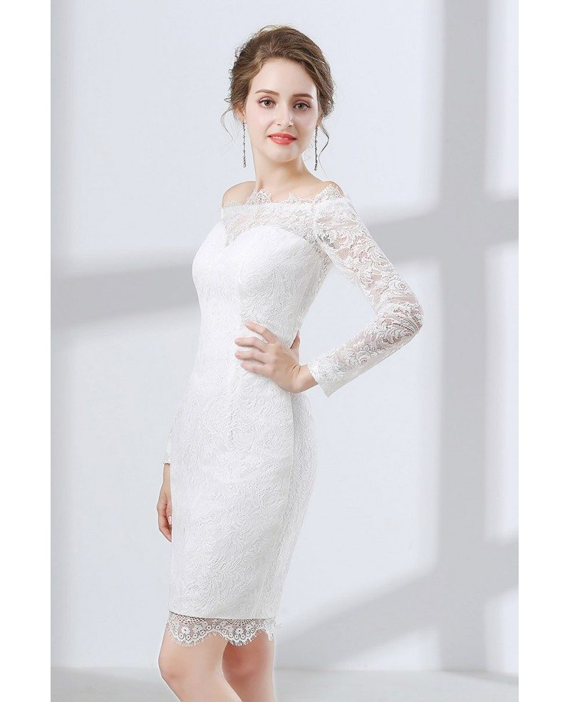 All Lace Cocktail Bridal Dress With Off Shoulder Long