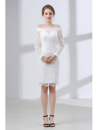All Lace Cocktail Bridal Dress With Off Shoulder Long Sleeves