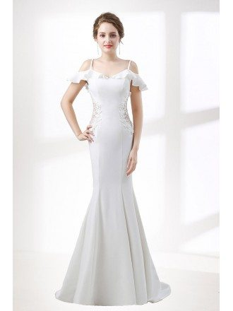 Trumpet Fitted Corset Wedding Dress With Off Shoulder Straps
