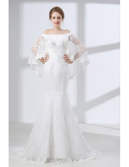 Off Shoulder Petite Trumpet Wedding Dress All Lace With Cape ...