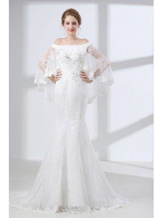 Off Shoulder Petite Trumpet Wedding Dress All Lace With Cape