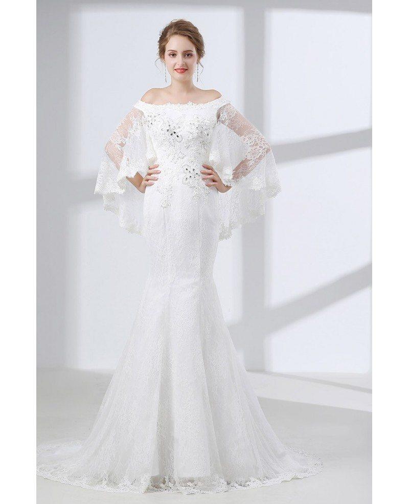 Off shoulder petite trumpet wedding dress all lace with for All lace wedding dress