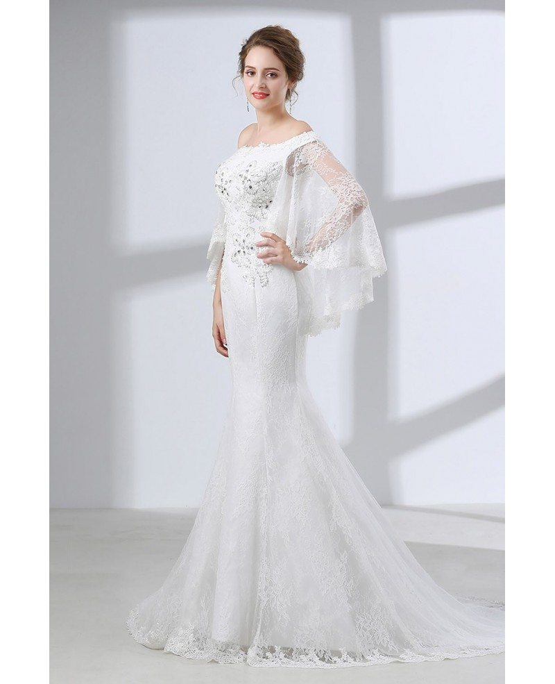 Petite Wedding Gown Designers: Off Shoulder Petite Trumpet Wedding Dress All Lace With