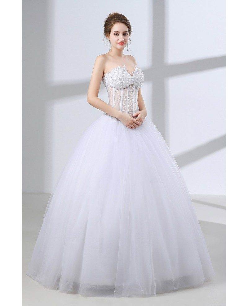 Sweetheart corset ball gown wedding dress with sexy for Beading for wedding dress