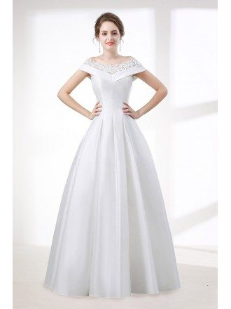 Simple A Line Satin Wedding Dress With Lace Off Shoulder Straps