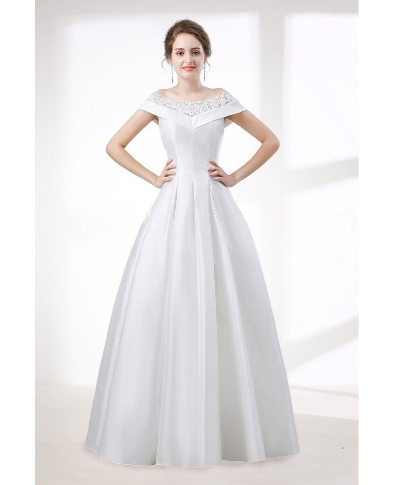 Simple A Line Satin Wedding Dress With Lace Off Shoulder