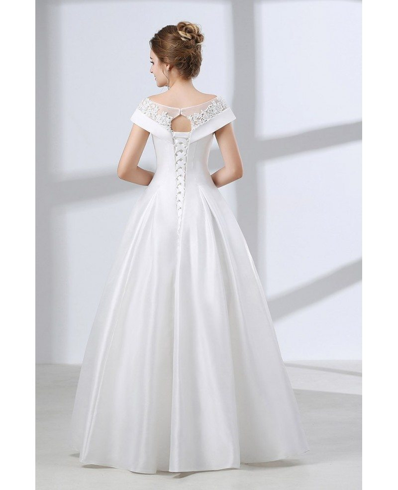 Simple a line satin wedding dress with lace off shoulder for Plain wedding dresses with straps