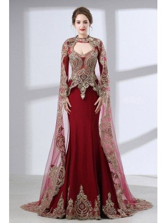 Vintage Lace Trim Burgundy Wedding Dress Sleeved With Cape