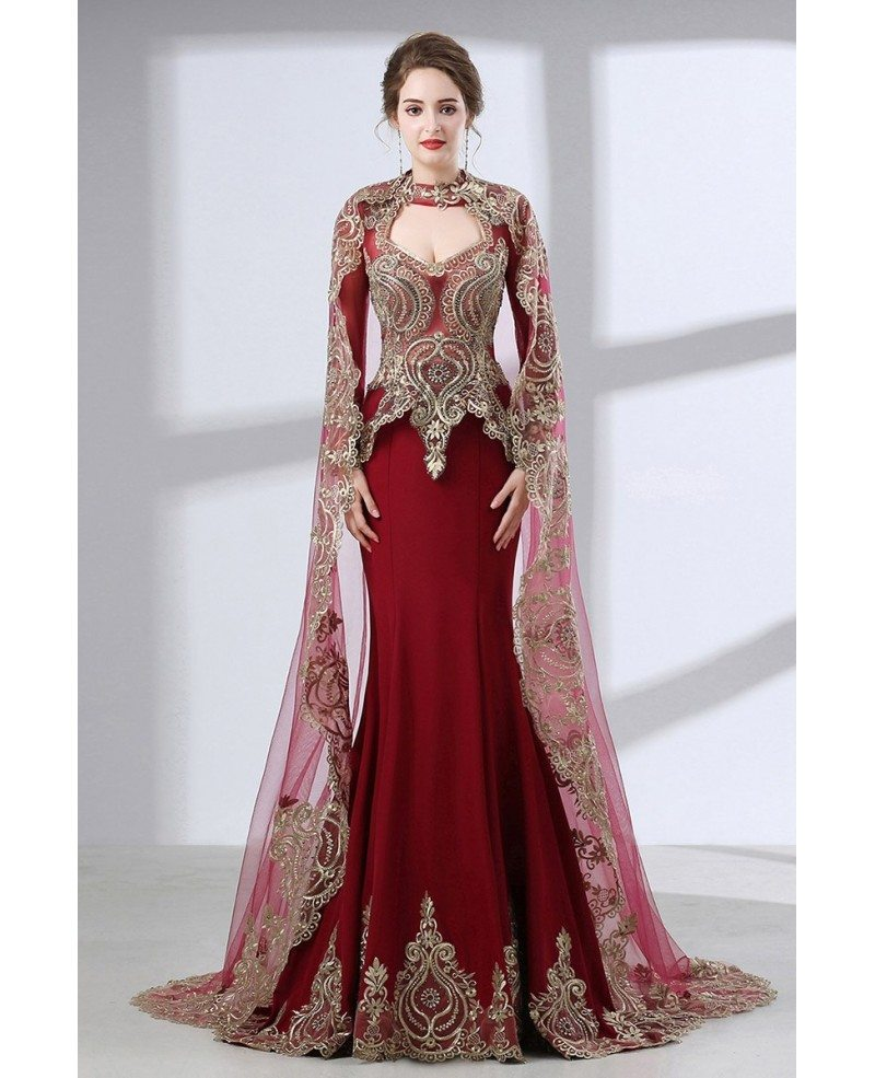 Vintage Lace Trim Burgundy Wedding Dress Sleeved With Cape #CH6652 ...