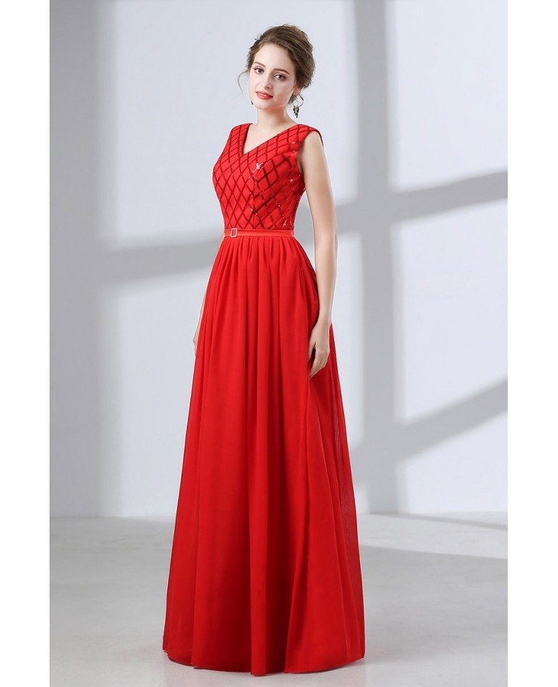 Flowing Chiffon Red Corset Evening Dress Long With Sequin Bodice ...