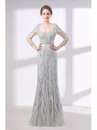 Gorgeous Sparkly Rhinestone Prom Dress Fitted With 3/4 Sleeves