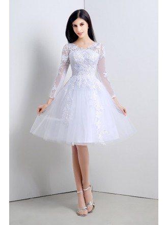 Short A-line Scoop Long-sleeves Knee-length Wedding Dress
