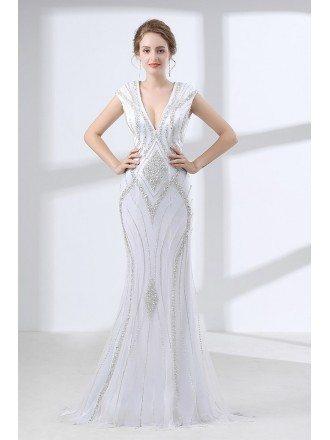 Deep V Neck White Formal Dress Trumpet With Sparkly Sequins