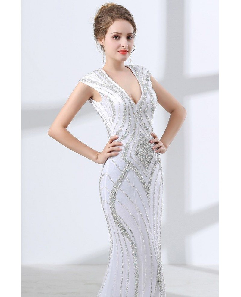 Deep V Neck White Formal Dress Trumpet With Sparkly Sequins #CH6658 ...