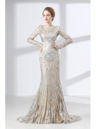 Glittering Silver Sequined Formal Evevning Dress With Long Sleeves