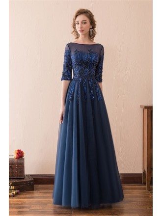 Modest Corset Beaded Lace Evening Dress Long With 1/2 Sleeves
