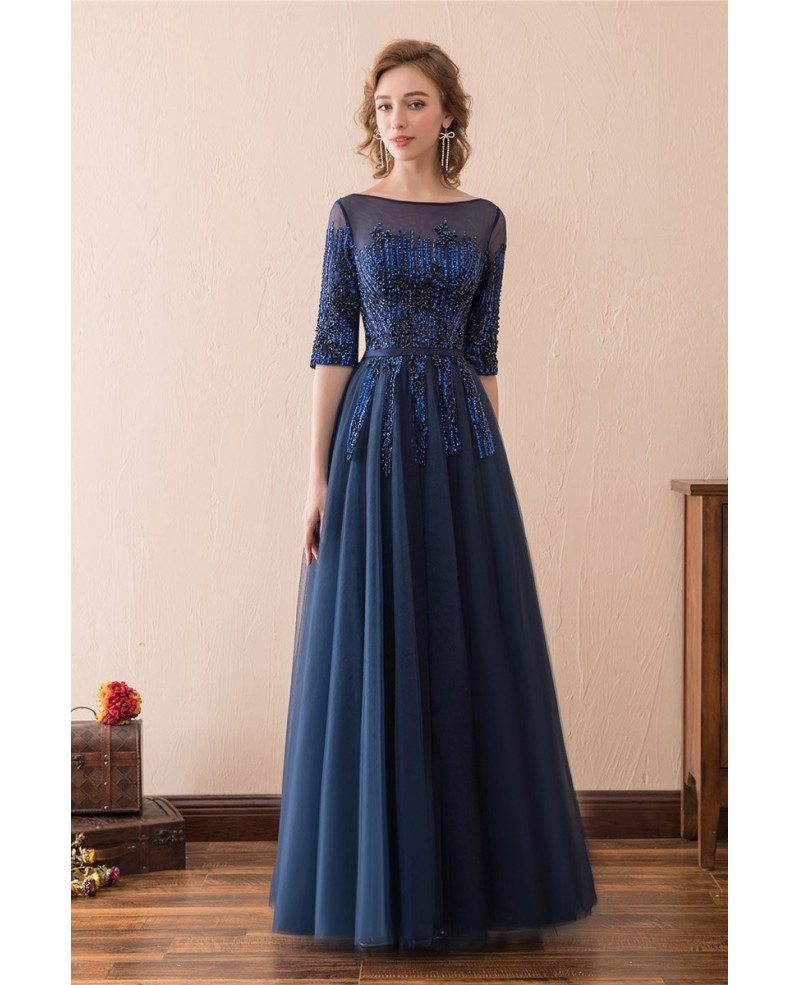 Modest Corset Beaded Lace Evening Dress Long With 1/2 Sleeves ...