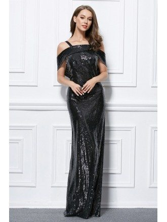 Elegant Sheath Sequined Long Evening Dress With Open Back