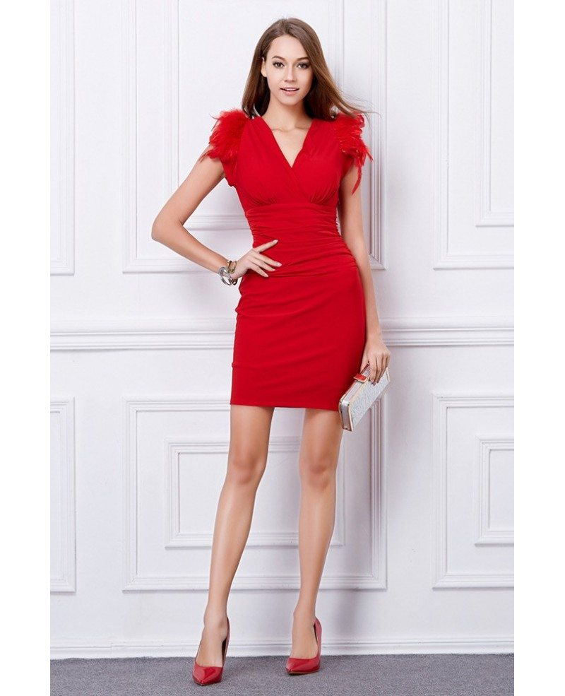 Sexy sheath v neck wedding guest dresses with feather for Sexy wedding guest dress