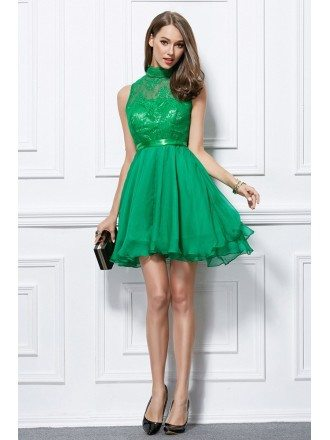 Lovely High-neck Chiffon Lace Short Cooktail Dress With Ruffle