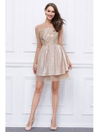 Chic Embroided Tulle Short Prom Dress With Long Sleeves