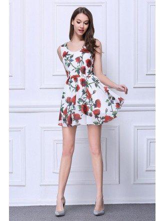 Summer Floral Printe A-Line Chiffon Short Wedding Guest Dress